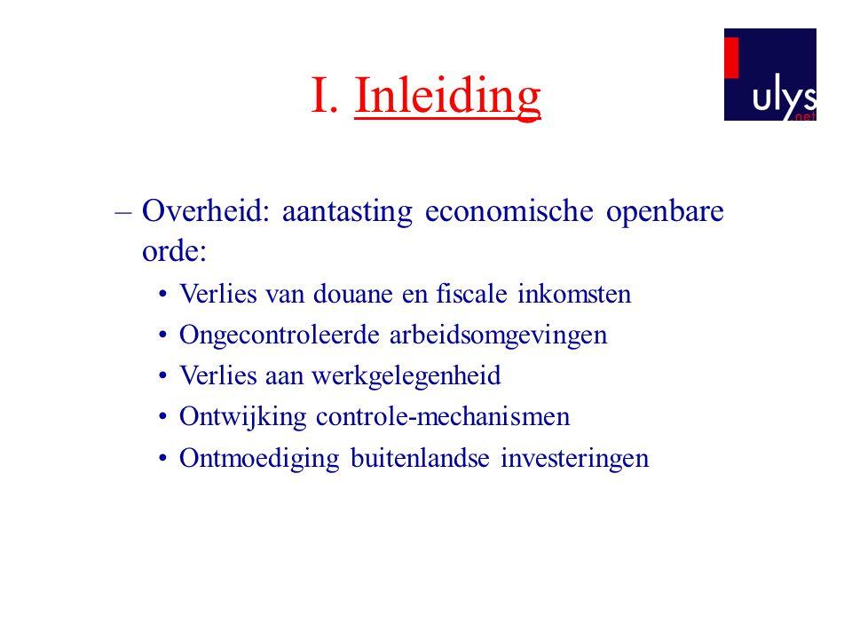 I. Inleiding Overheid: aantasting economische openbare orde: