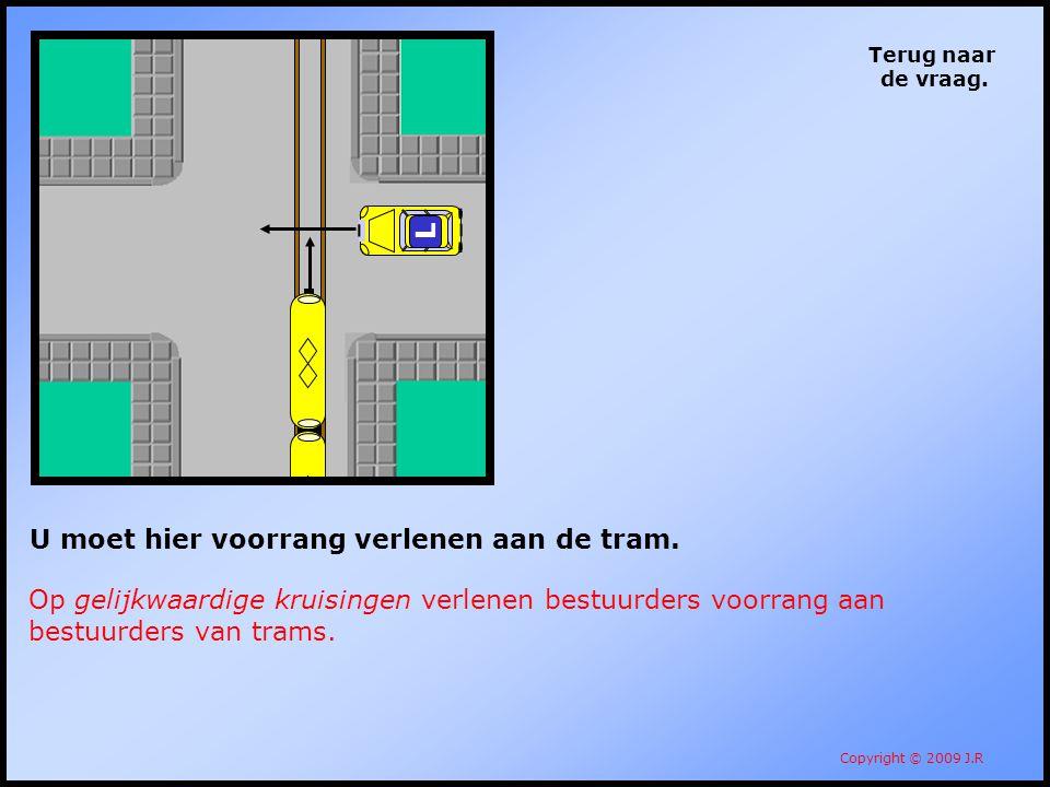 U moet hier voorrang verlenen aan de tram.