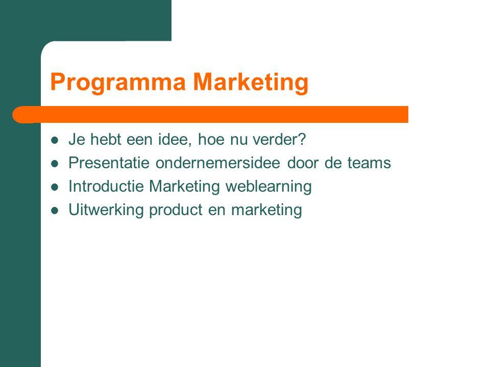 Programma Marketing Je hebt een idee, hoe nu verder