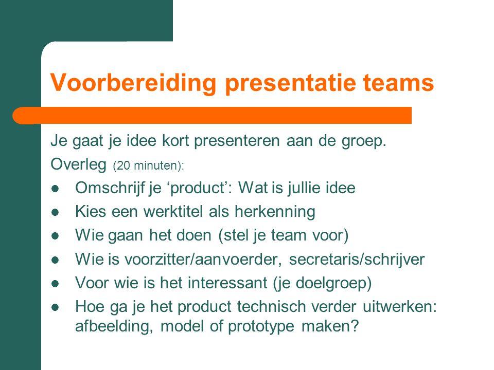 Voorbereiding presentatie teams