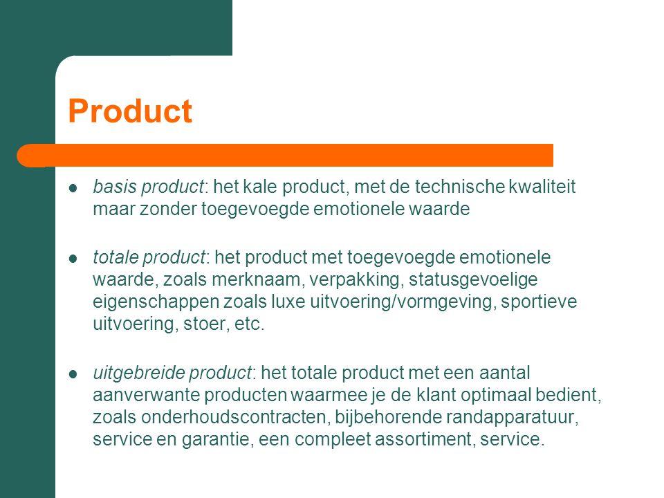 Product basis product: het kale product, met de technische kwaliteit maar zonder toegevoegde emotionele waarde.