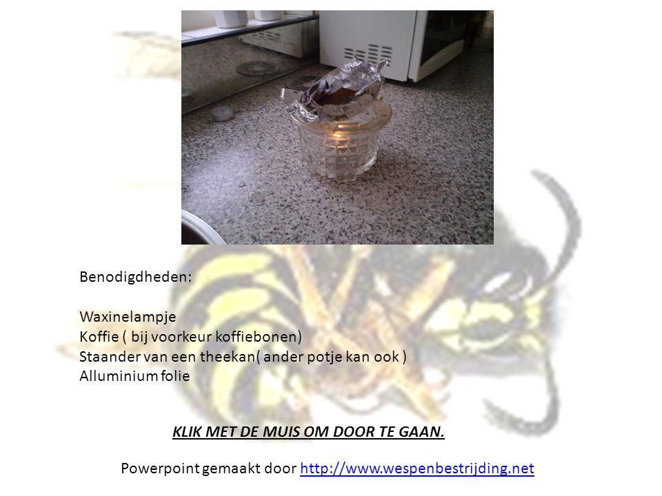 Benodigdheden: Waxinelampje. Koffie ( bij voorkeur koffiebonen) Staander van een theekan( ander potje kan ook )