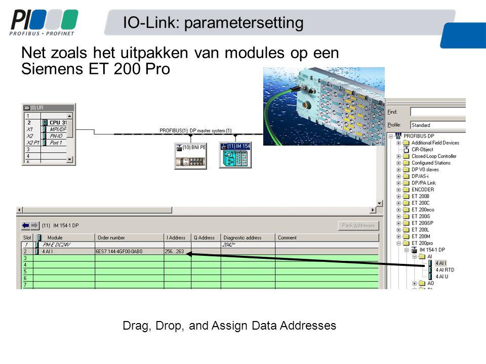 Net zoals het uitpakken van modules op een Siemens ET 200 Pro