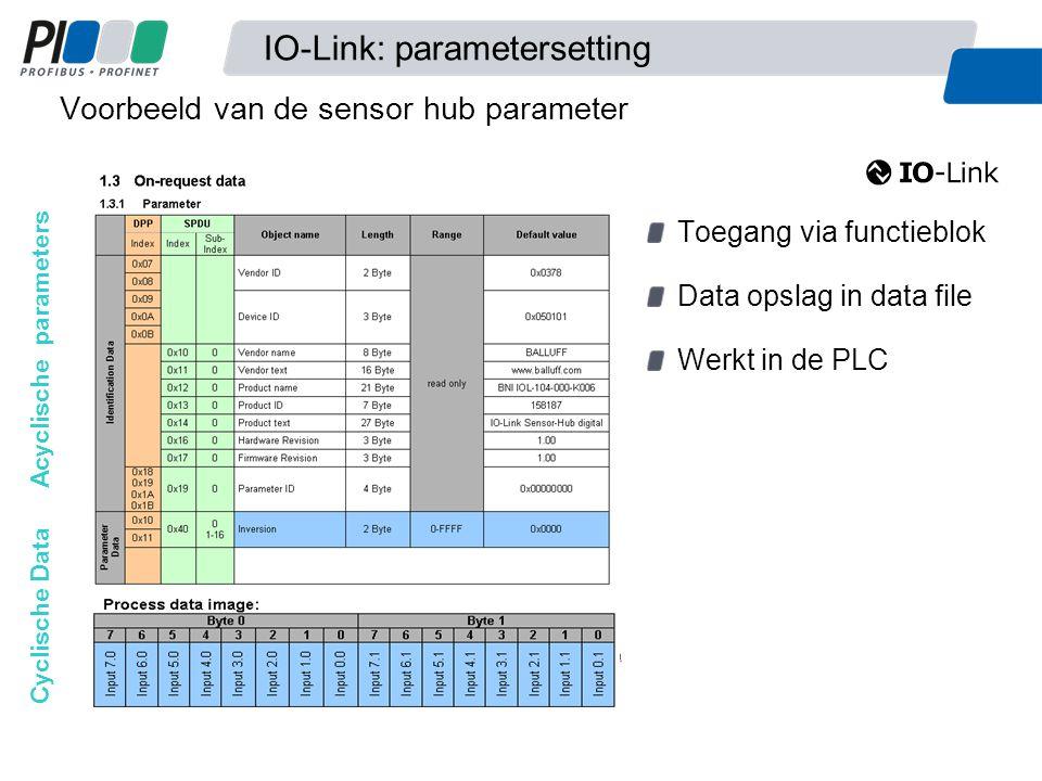 Voorbeeld van de sensor hub parameter