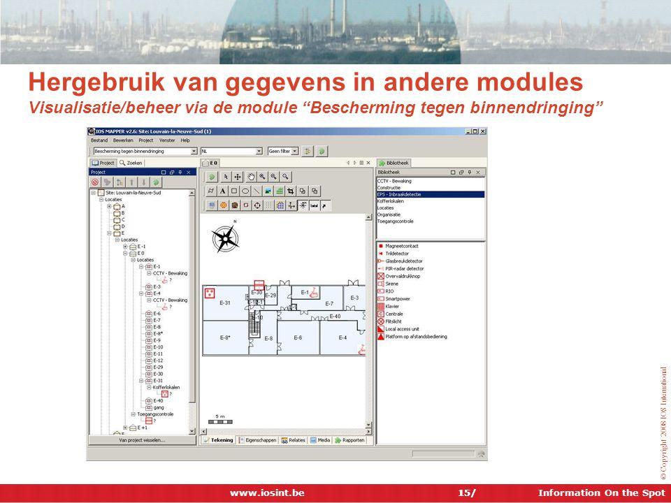 Hergebruik van gegevens in andere modules Visualisatie/beheer via de module Bescherming tegen binnendringing