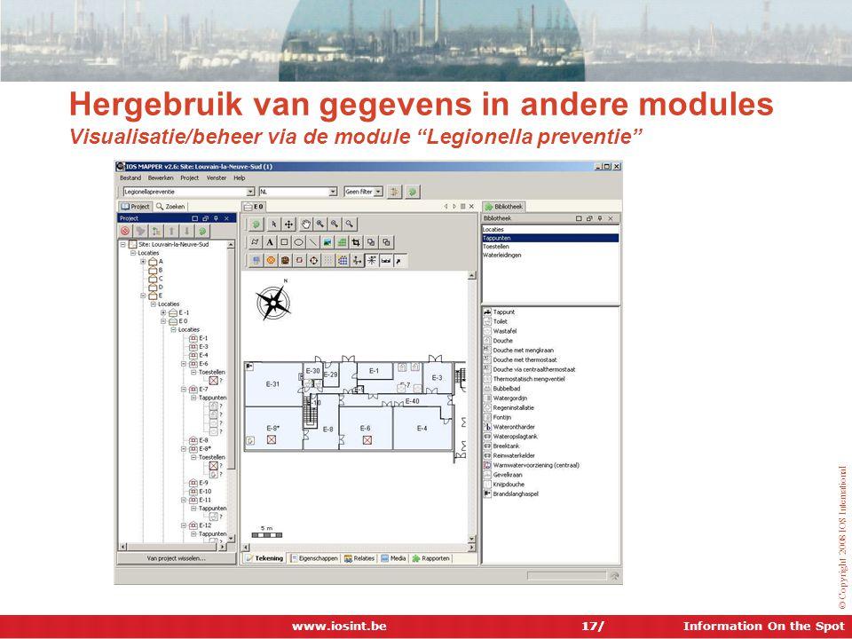 Hergebruik van gegevens in andere modules Visualisatie/beheer via de module Legionella preventie