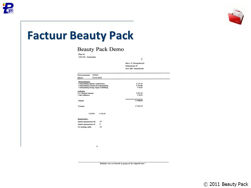 Factuur Beauty Pack