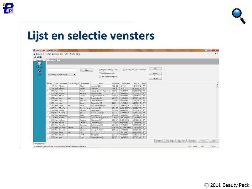 Lijst en selectie vensters