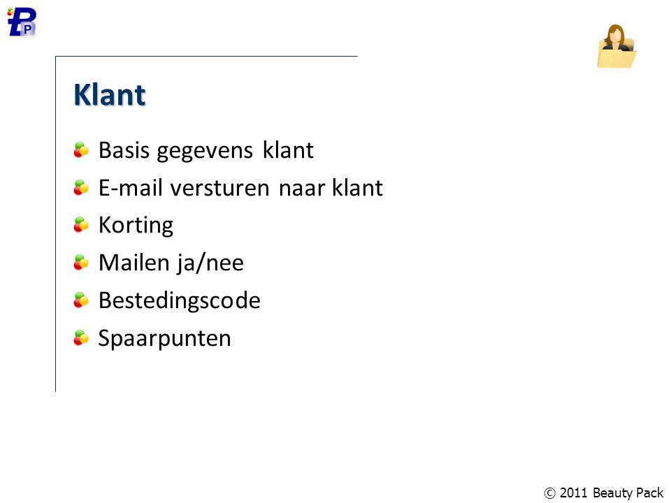 Klant Basis gegevens klant E-mail versturen naar klant Korting