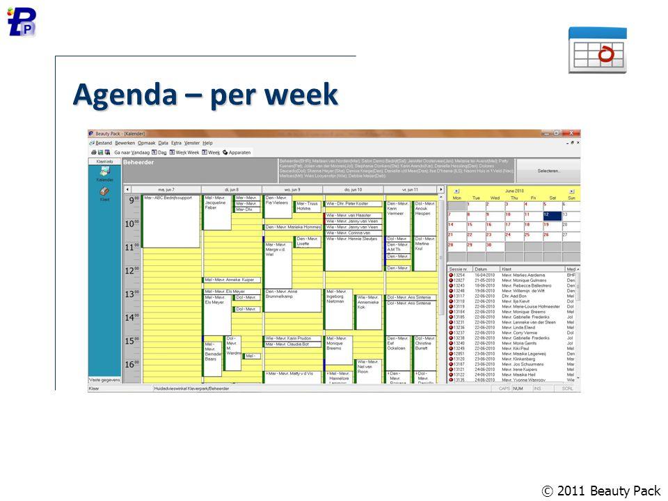 Agenda – per week