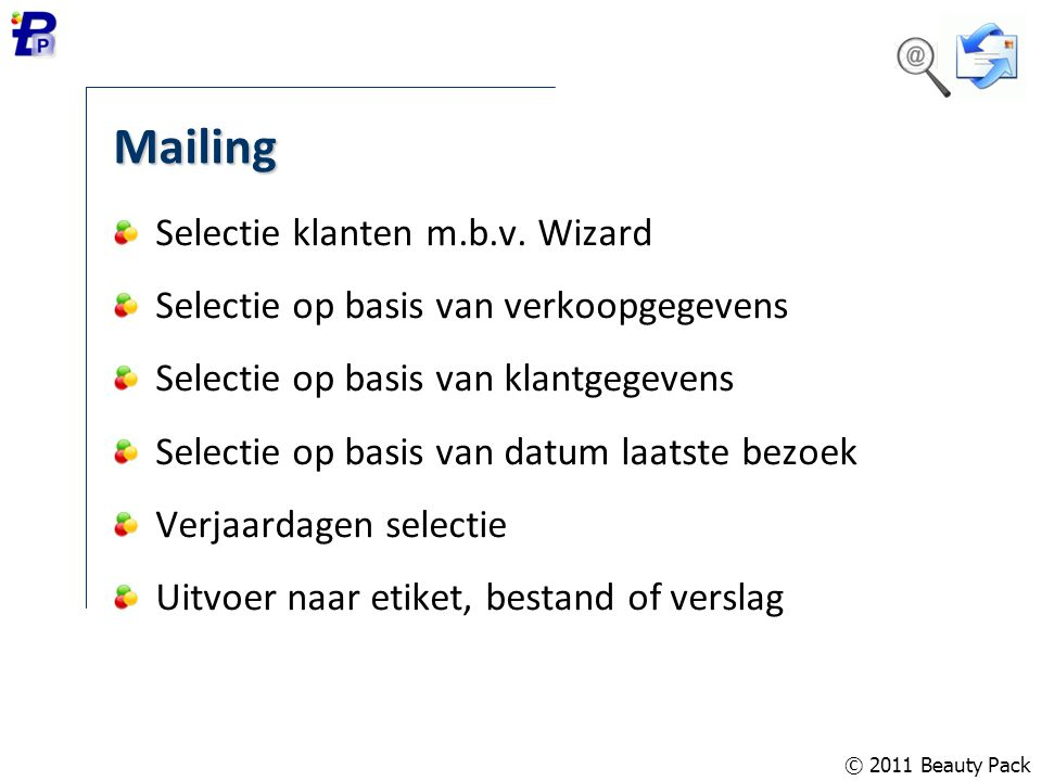 Mailing Selectie klanten m.b.v. Wizard