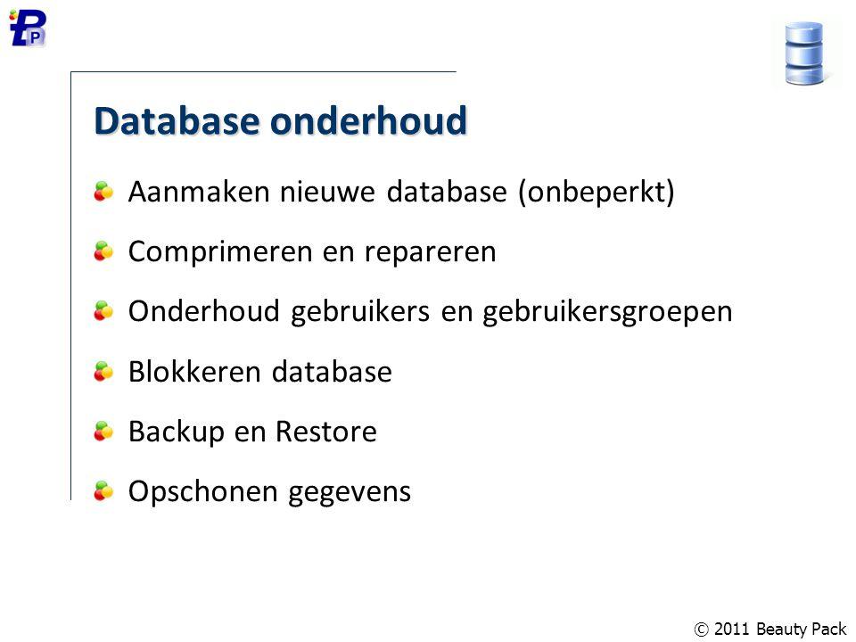 Database onderhoud Aanmaken nieuwe database (onbeperkt)