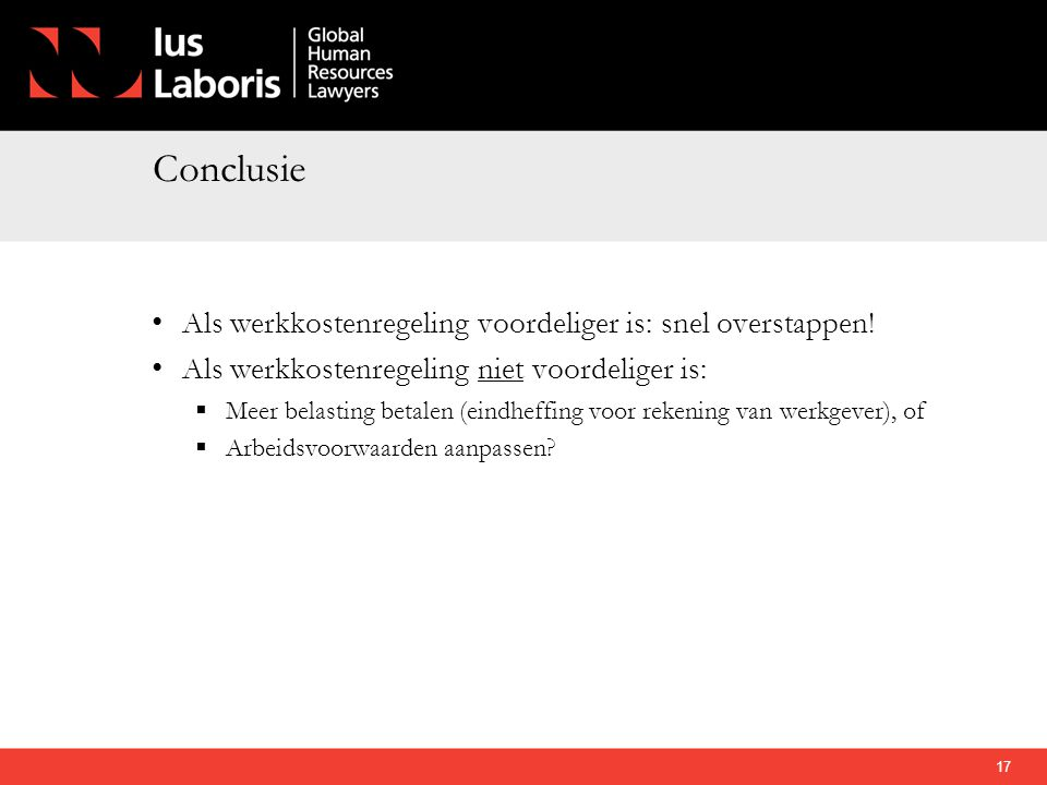 Conclusie Als werkkostenregeling voordeliger is: snel overstappen!