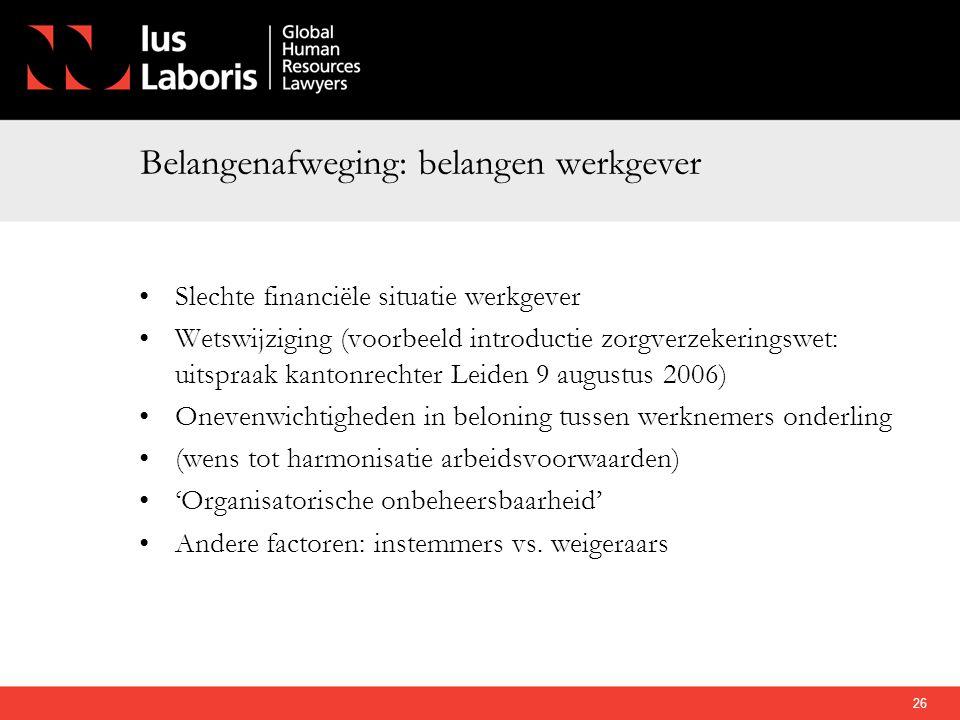 Belangenafweging: belangen werkgever