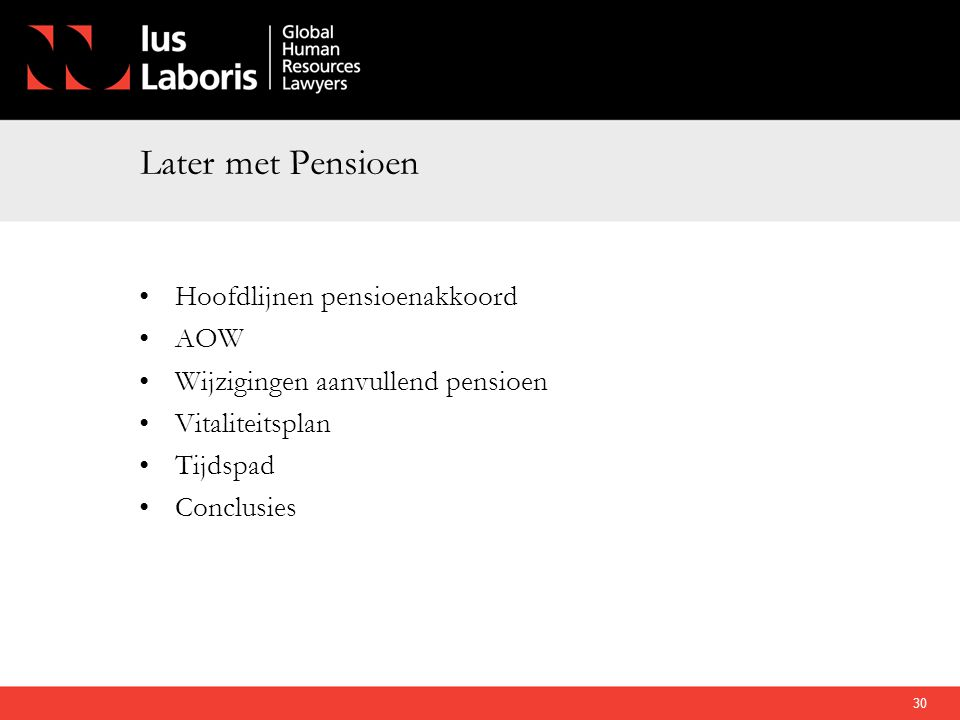 Later met Pensioen Hoofdlijnen pensioenakkoord AOW