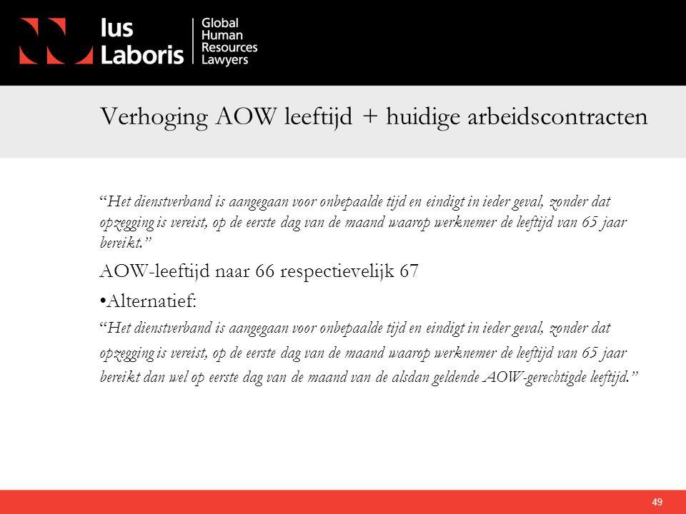 Verhoging AOW leeftijd + huidige arbeidscontracten