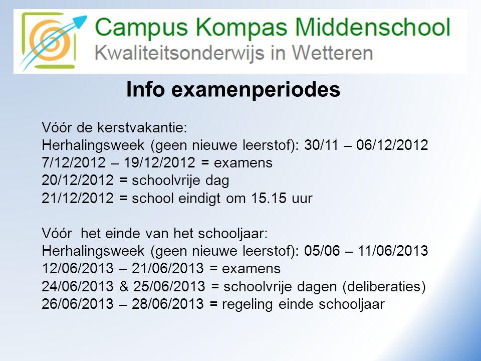 Info examenperiodes Vóór de kerstvakantie: