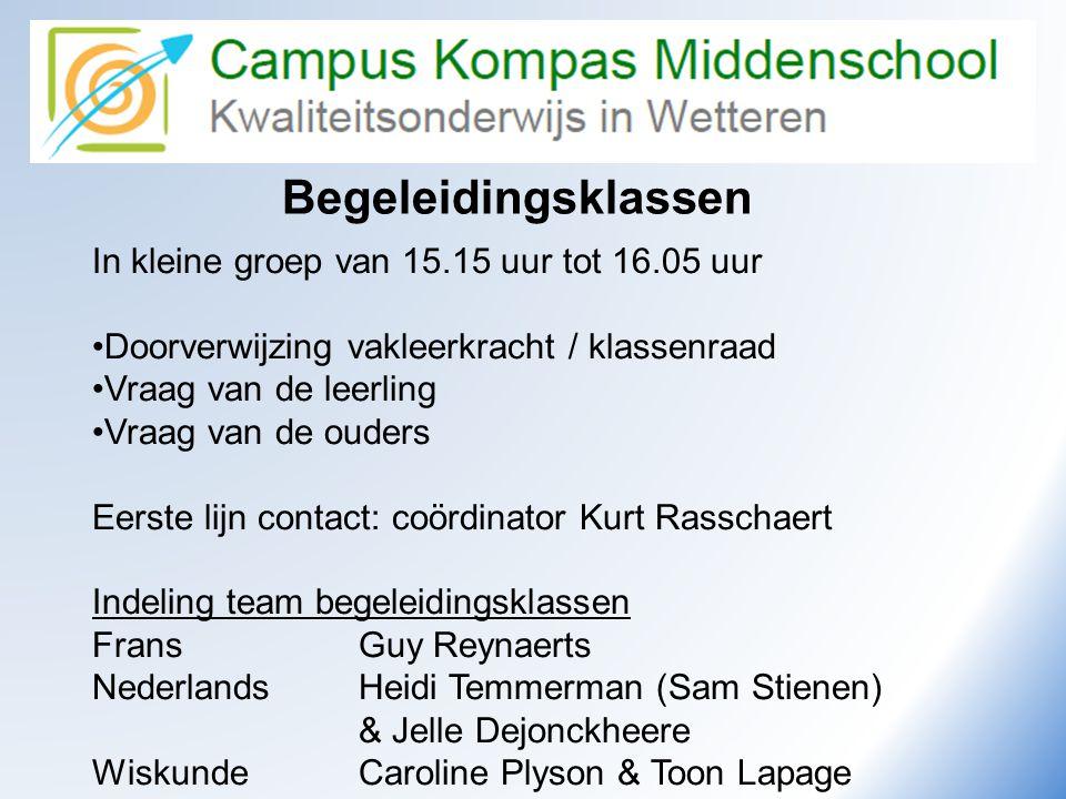 Begeleidingsklassen In kleine groep van 15.15 uur tot 16.05 uur