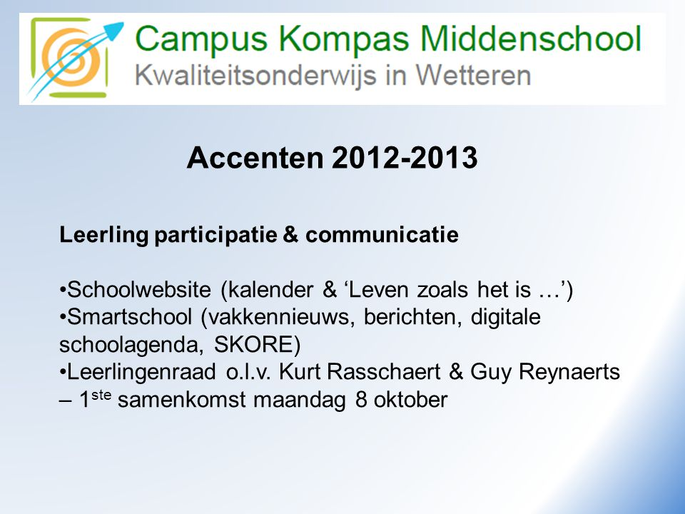Camus Kompas Accenten 2012-2013 Leerling participatie & communicatie
