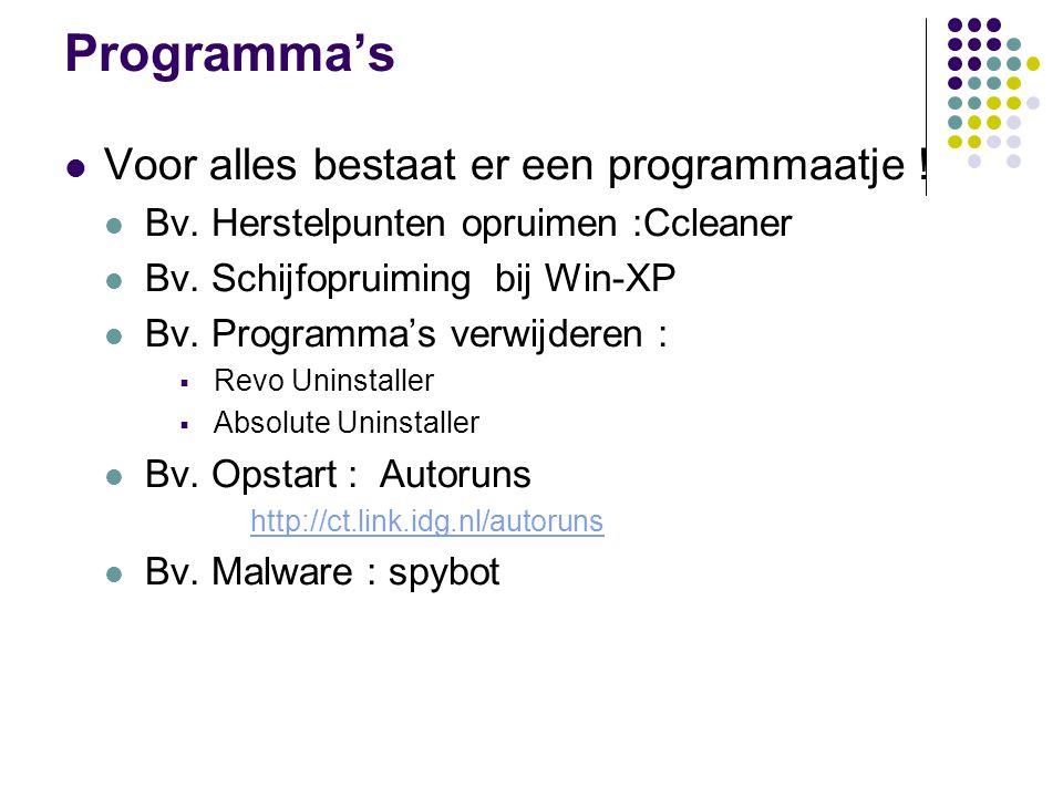 Programma's Voor alles bestaat er een programmaatje !