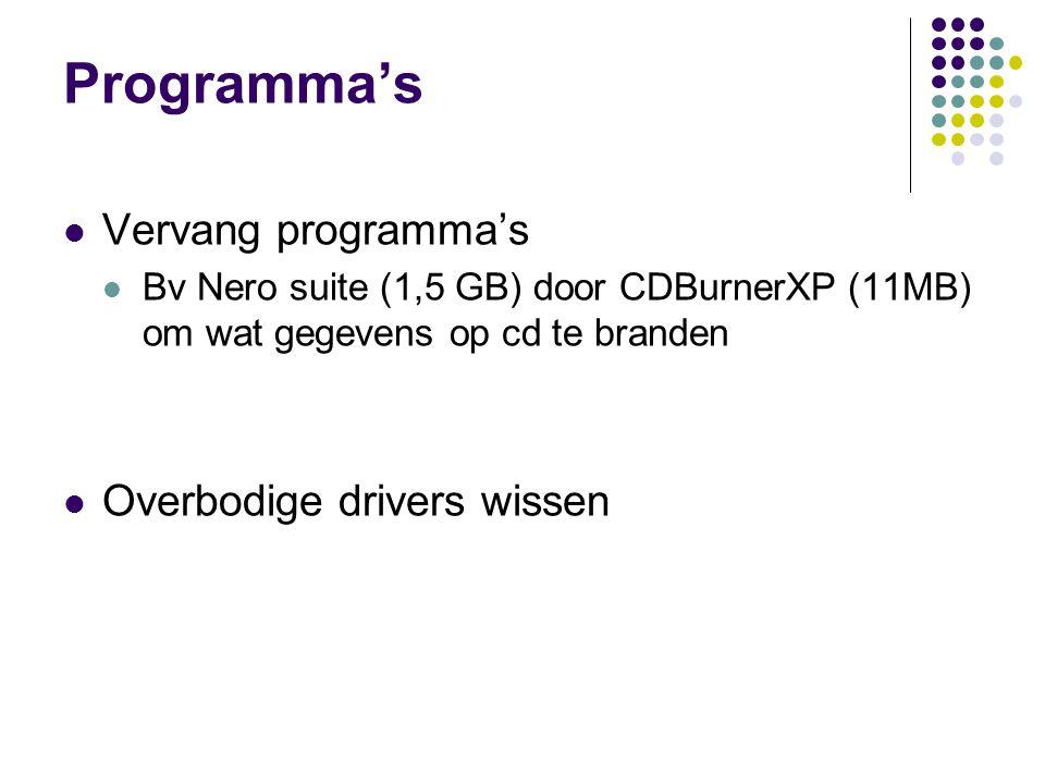 Programma's Vervang programma's Overbodige drivers wissen