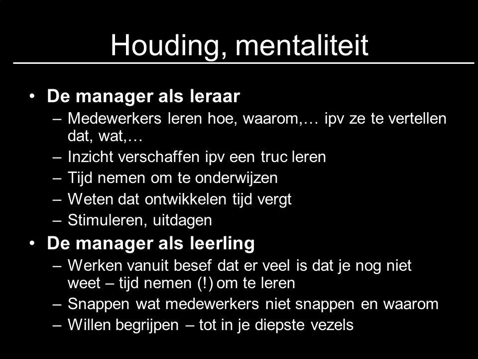 Houding, mentaliteit De manager als leraar De manager als leerling