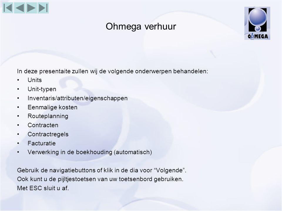 Ohmega verhuur In deze presentaite zullen wij de volgende onderwerpen behandelen: Units. Unit-typen.