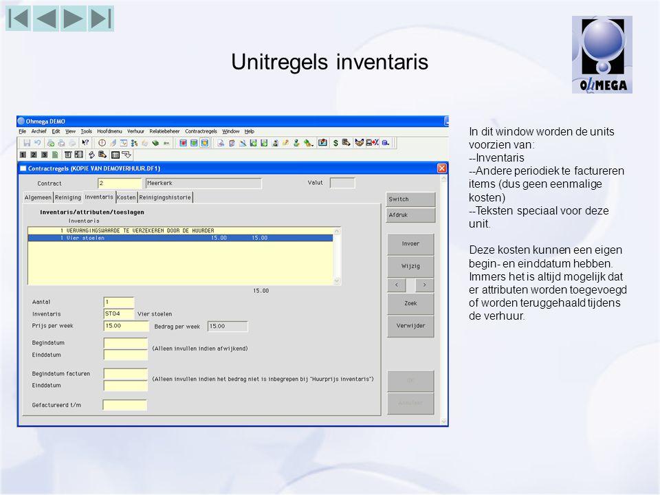 Unitregels inventaris