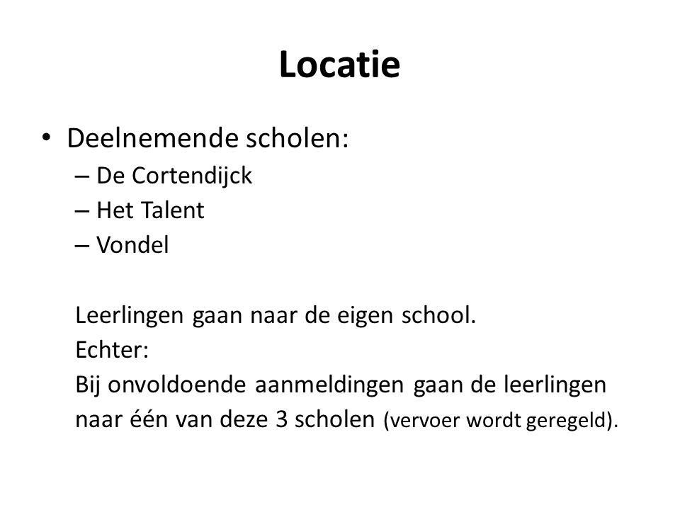 Locatie Deelnemende scholen: De Cortendijck Het Talent Vondel