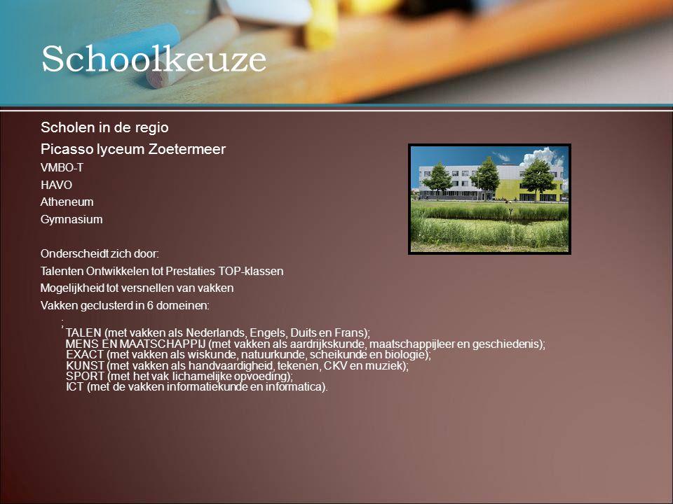 Schoolkeuze Scholen in de regio Picasso lyceum Zoetermeer VMBO-T HAVO