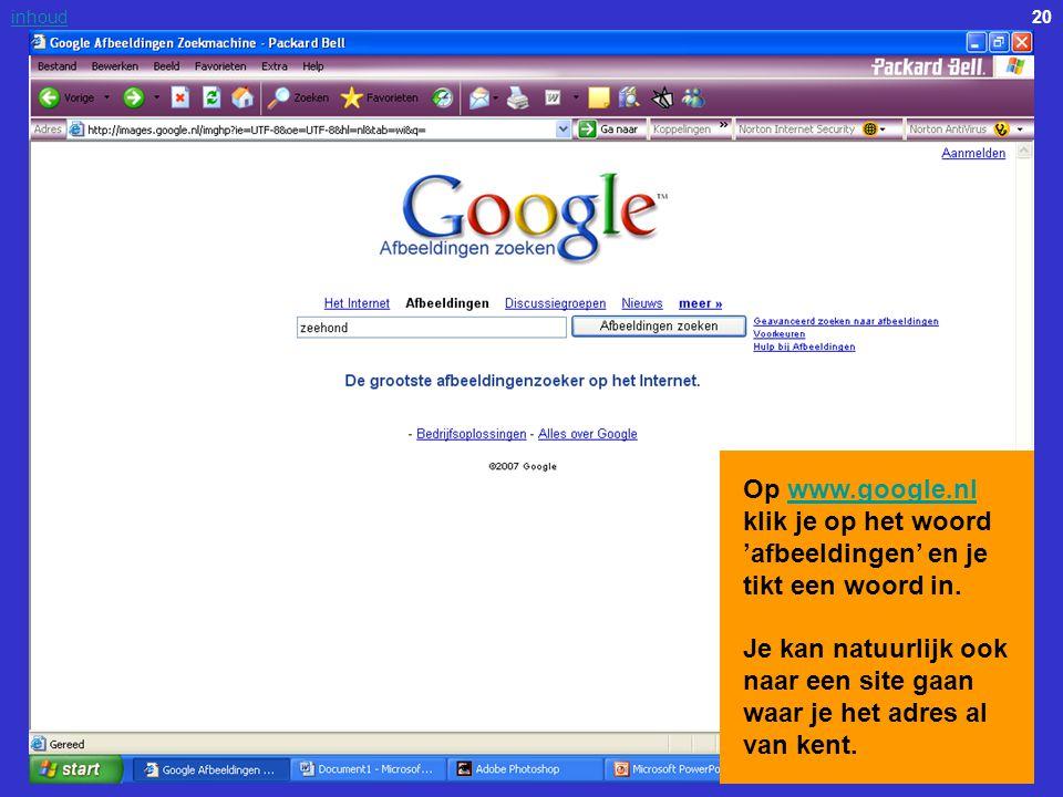 Op www.google.nl klik je op het woord 'afbeeldingen' en je tikt een woord in.