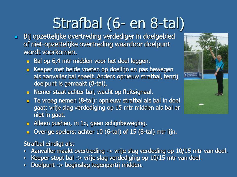 Strafbal (6- en 8-tal) Bij opzettelijke overtreding verdediger in doelgebied of niet-opzettelijke overtreding waardoor doelpunt wordt voorkomen.