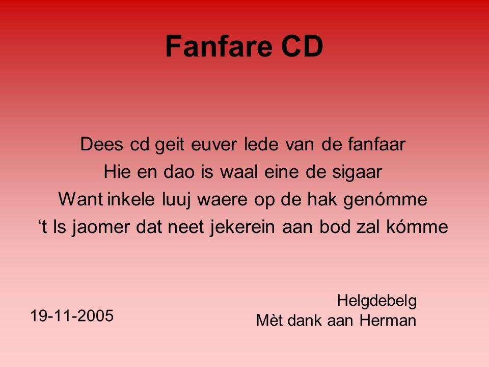 Fanfare CD Dees cd geit euver lede van de fanfaar