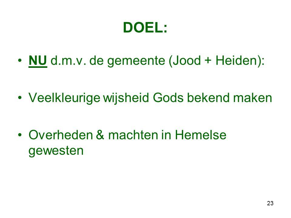 DOEL: NU d.m.v. de gemeente (Jood + Heiden):