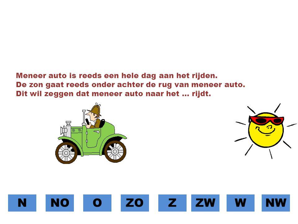 N NO O ZO Z ZW W NW Meneer auto is reeds een hele dag aan het rijden.