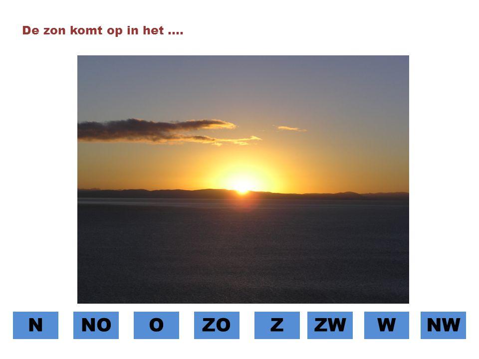 De zon komt op in het …. N NO O ZO Z ZW W NW