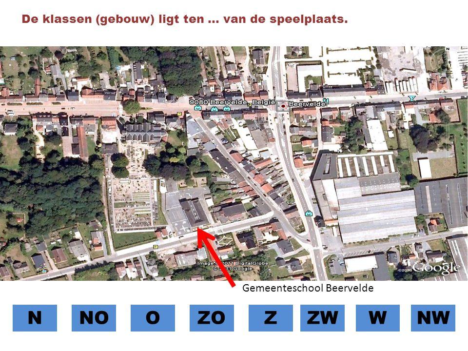 N NO O ZO Z ZW W NW De klassen (gebouw) ligt ten … van de speelplaats.