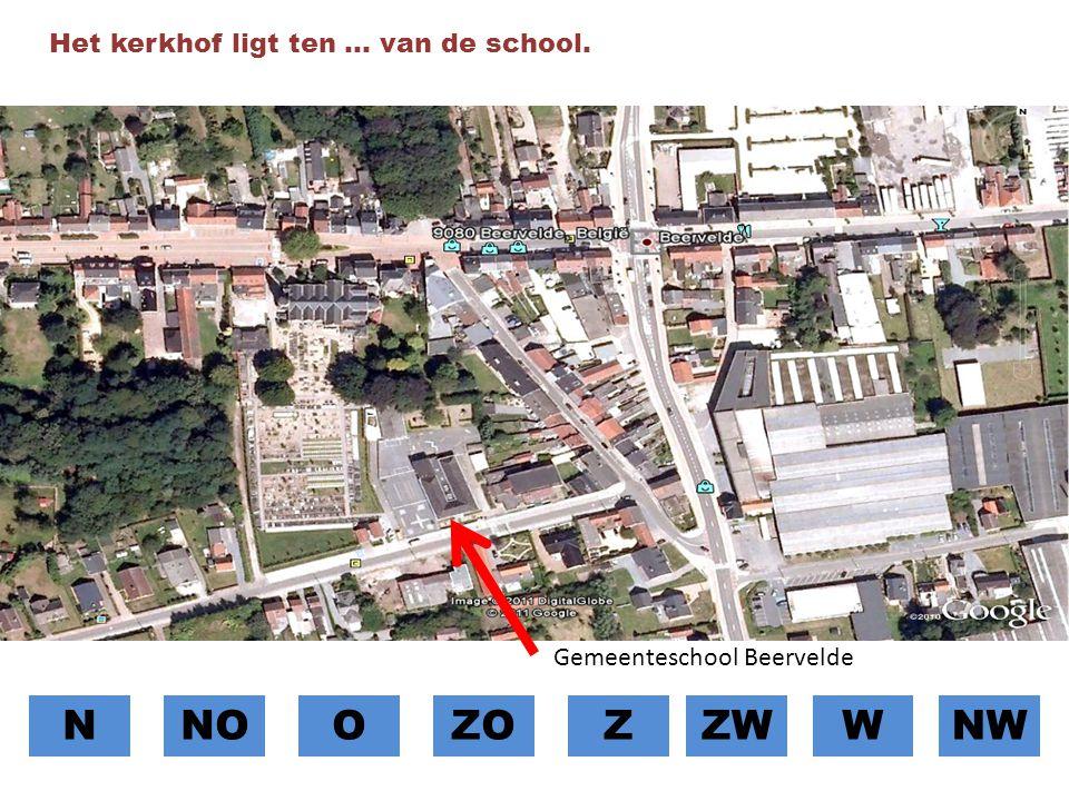 N NO O ZO Z ZW W NW Het kerkhof ligt ten … van de school.