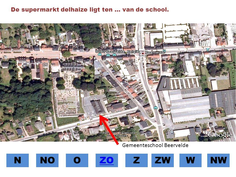 N NO O ZO Z ZW W NW De supermarkt delhaize ligt ten … van de school.