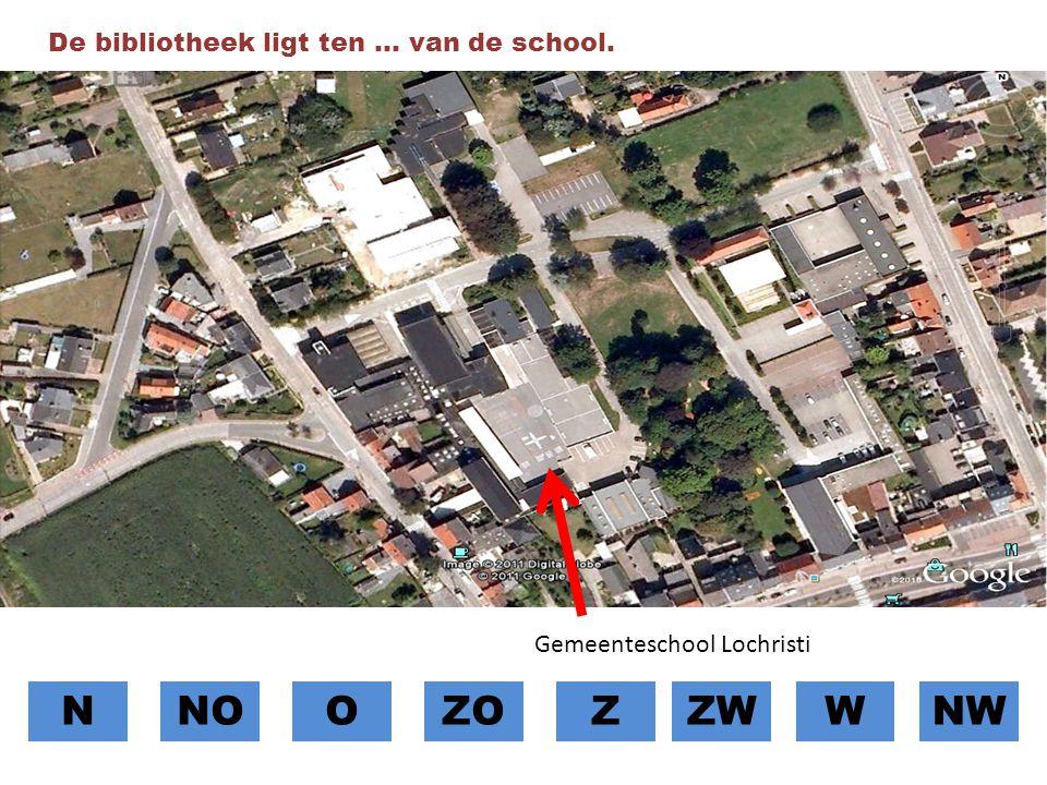 N NO O ZO Z ZW W NW De bibliotheek ligt ten … van de school.