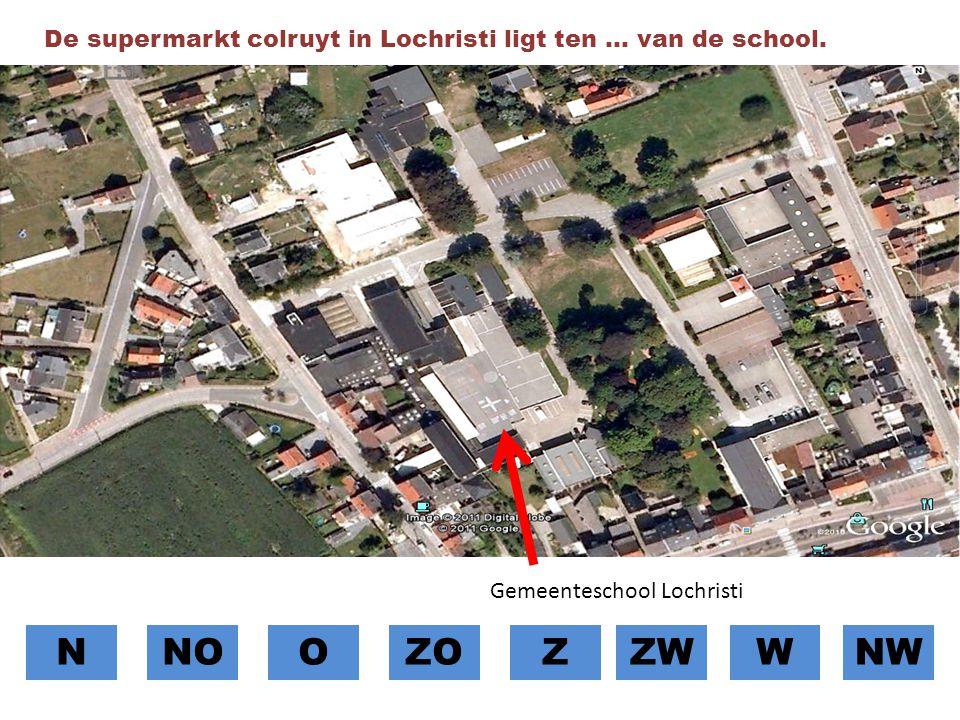 De supermarkt colruyt in Lochristi ligt ten … van de school.