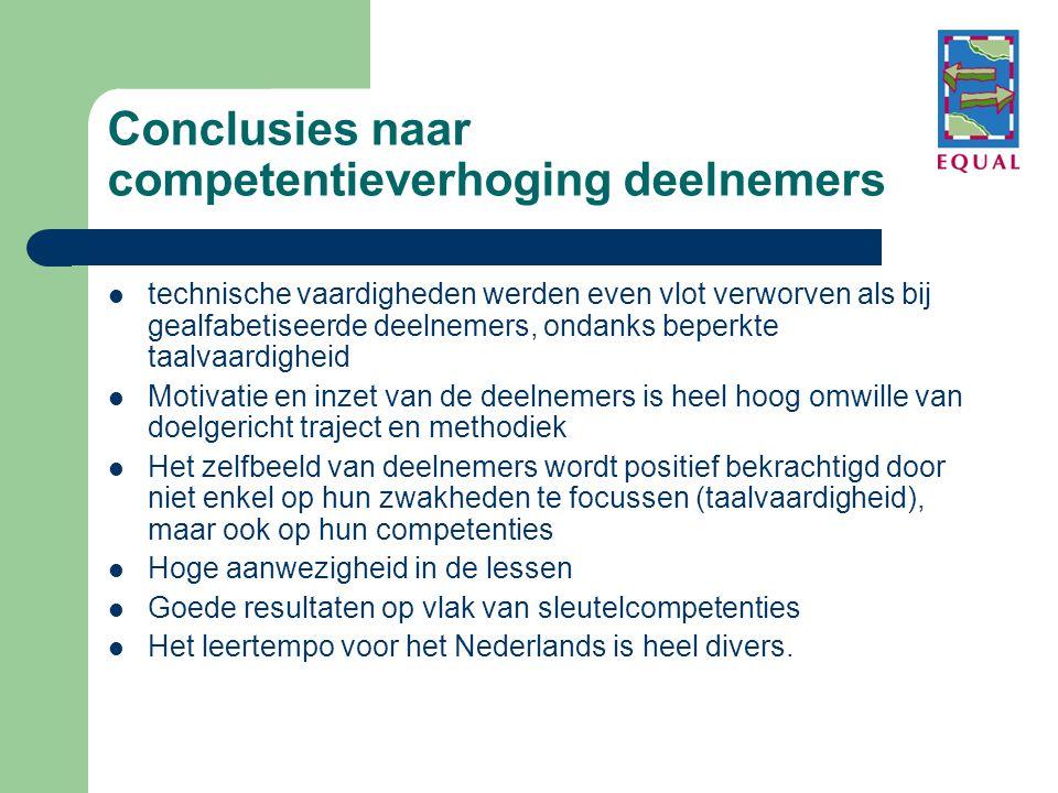 Conclusies naar competentieverhoging deelnemers