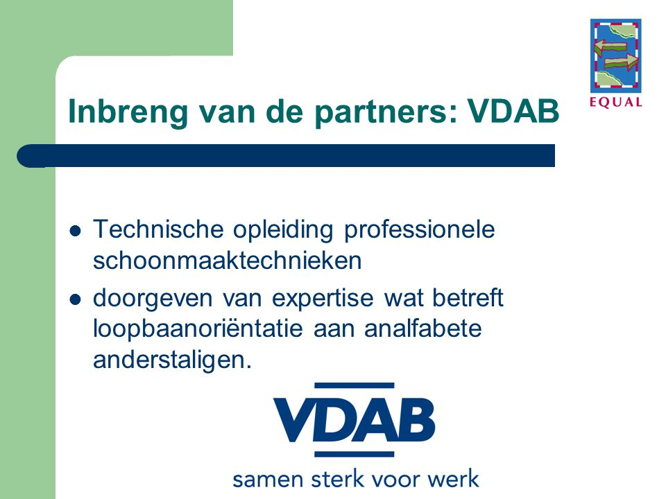Inbreng van de partners: VDAB