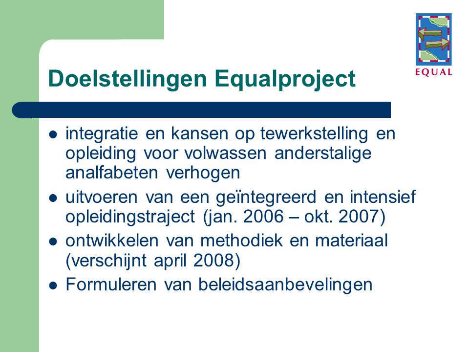 Doelstellingen Equalproject