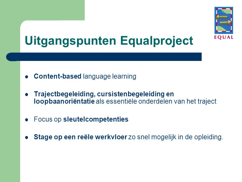 Uitgangspunten Equalproject