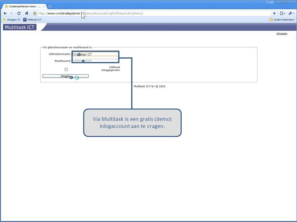 Via Multitask is een gratis (demo) inlogaccount aan te vragen.
