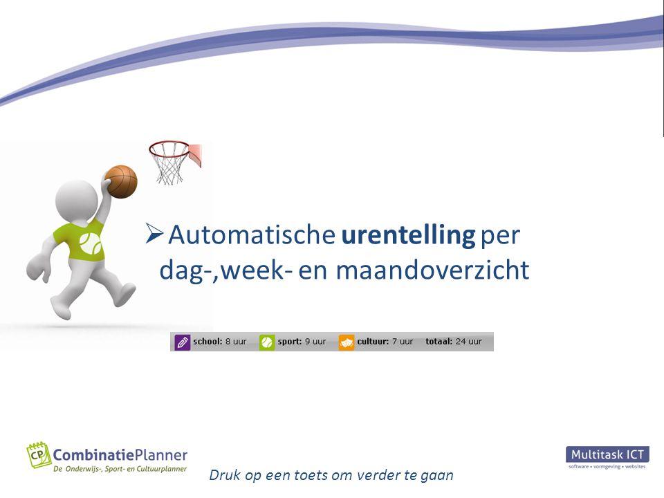Automatische urentelling per dag-,week- en maandoverzicht