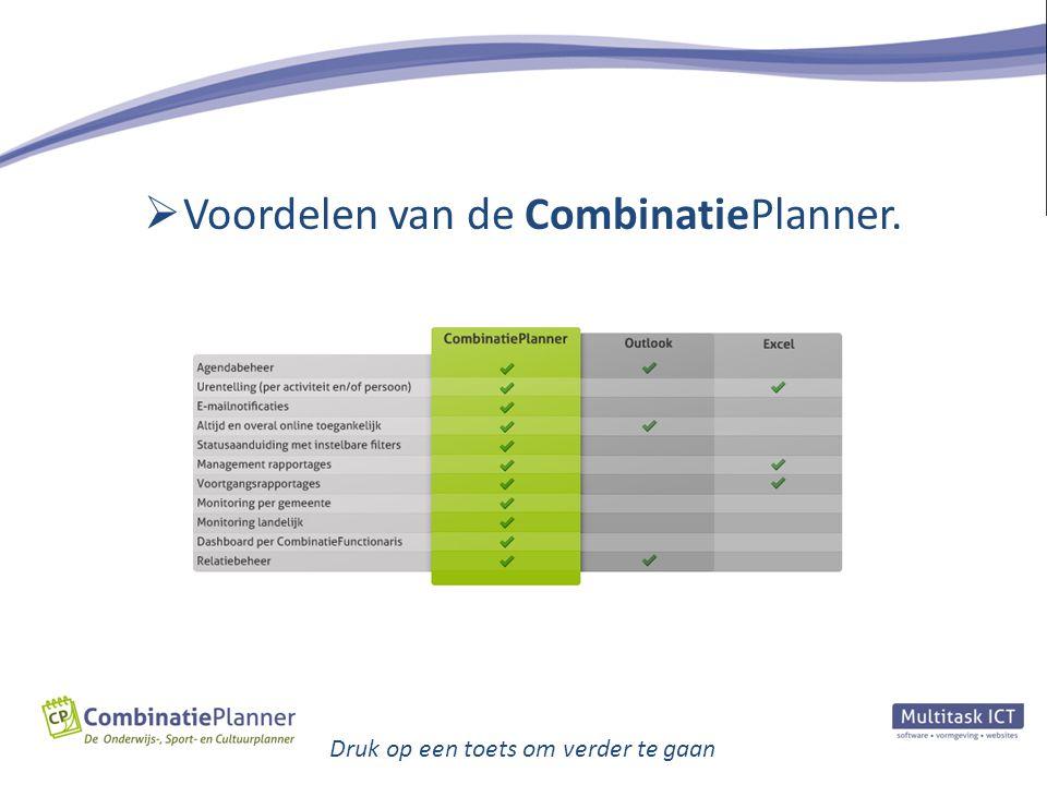 Voordelen van de CombinatiePlanner.