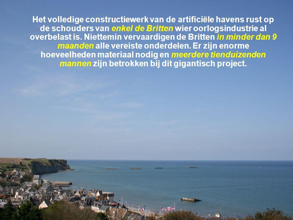 Het volledige constructiewerk van de artificiële havens rust op de schouders van enkel de Britten wier oorlogsindustrie al overbelast is.