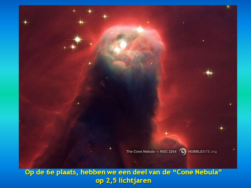 Op de 6e plaats, hebben we een deel van de Cone Nebula op 2,5 lichtjaren